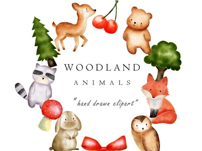 Watercolor Woodland Animal Clip Art Images forest clipart tree clipart kawaii clipart cute clipart watercolor clipart woodland clipart animal clipart cute branding illustration clipart design art turnip