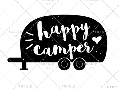 Happy Camper PNG Sublimation Graphic In Black And White pun clipart travel clipart adventure clipart camper clipart quote clipart sublimation clipart black and white clipart cute branding illustration clipart design art turnip