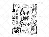 Live Love Nurse Sublimation Clipart PNG Graphic