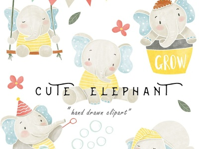 Watercolor Baby Elephant Clipart PNG Boy Girl Digital Download