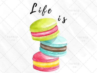 Life is Sweet Sublimation Macaroon Clipart Graphic sublimation clipart sweet clipart quote clipart macaroon clipart watercolor clipart cute branding illustration clipart design art turnip