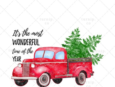 Christmas Truck With Tree Clipart PNG Sublimation Graphic X