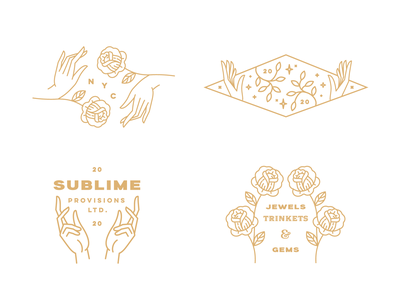 Sublime Gems flowers gems jewels sublime line illustration typography identity brand
