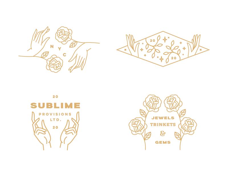 Sublime Gems flowers gems jewels sublime line illustration typography identity brand