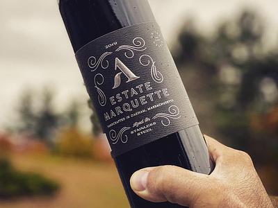 Agronomy Steel Estate Marquette emboss flourishes foil steel vineyard farm winery packaging wine label wine