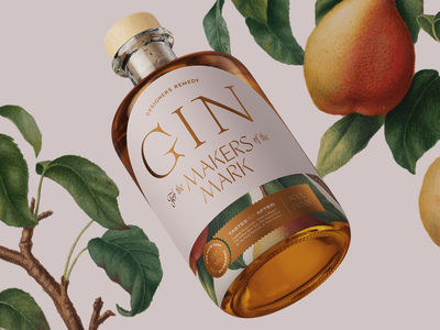 Designers Remedy Gin 02 layout typography peachy bottle remedy designer gin label packaging