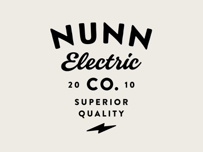 Nunn Typography Lockup bolt electric symbol lockup branding electrician typography