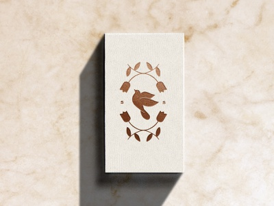 Songbird Sentiments Business Card sentimental marble branding brandmark bird logo bird bronze foil businesscard
