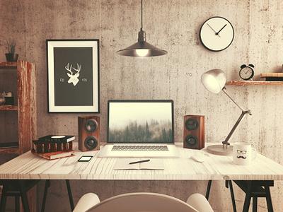 Londonderry Desk desk vermont londonderry design deer illustration branding
