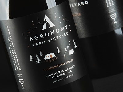 Campground White illustrator illustration fire camping campground camp logo brand typography packaging label wine