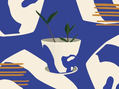 Planter illustrator digital ceramics paint illustration plant planter