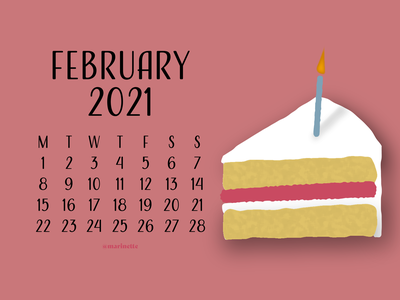 February 2021 Calendar - v1 birthday february flatdesign design calendar 2021 calendar 2021 illustration