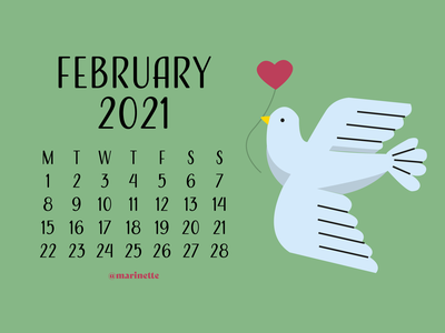 February 2021 - Calendar - v2 green bird february illustrator flatdesign design calendar 2021 calendar 2021 illustration