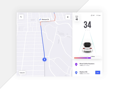 Mapbox Turn by Turn Navigation 🚙 - Add a Stop animation mapping map ui maps directions turn by turn navigation automotive auto car car app ios app