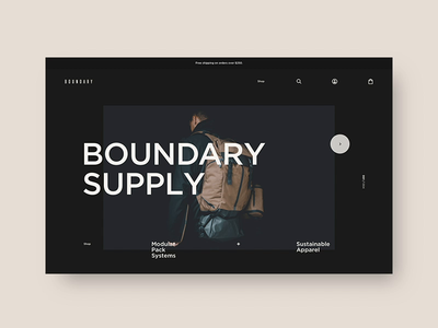 Boundary Supply 🎒 - Homepage interactive layout web design website web art direction design typography backpacks fashion shopping shopify ecom e-commerce ecommerce
