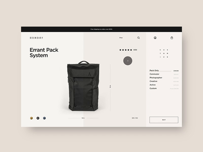 Boundary Supply 🎒 - Product Detail Page backpack fashion website web interactive layout typography ui ux design shopify ecom ecommerce e-comerce shopping