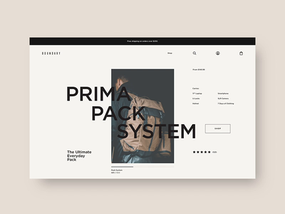 Boundary Supply 🎒 - Product List Page, Search & Cart ux ui interactive backpack layout typography design shopify fashion shopping ecom e-comerce ecommerce