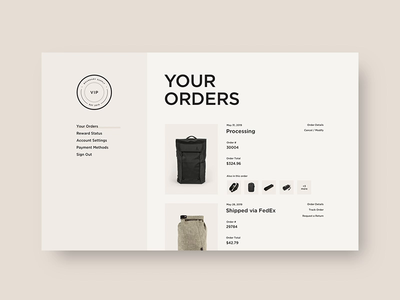 Boundary Supply 🎒 - Account Pages website interactive typography shopify ecom layout ui web ux ecommerce fashion e-commerce design shopping