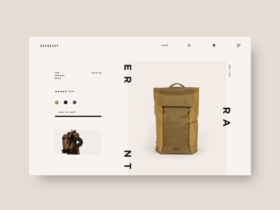 Boundary Supply 🎒 - Early Configuration Concept interaction layouts customize configurator interactive layout ux animation web ecommerce ui fashion e-commerce design shopping
