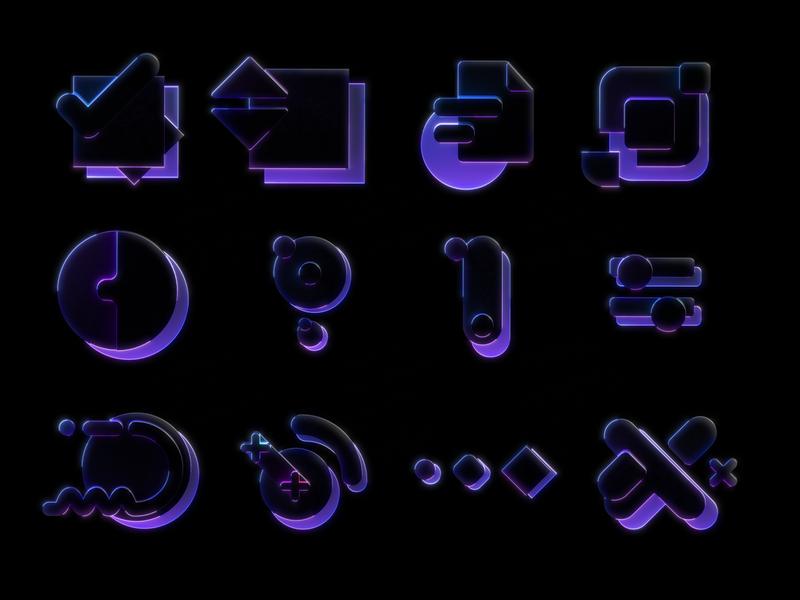 Framer Learn - Iconography Set Dark logo octane illustration icon cinema4d framer x framer design branding 3d