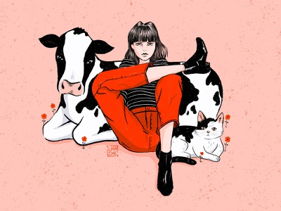 Hanging Out With Ma Girls cat cow characters character design procreate digitalillustration pop-art hand drawn characterdesign character illustration