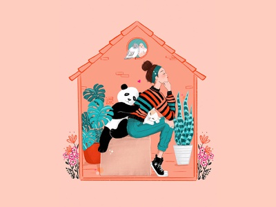 Thinking Outside The Box While In The Box character art character illustration characters character stayhome covid-19 social distancing cat panda hand drawn digitalillustration character design procreate illustration