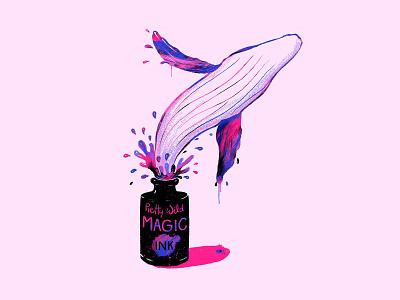 Magic Ink - Whale Edition lettering pop-art design illustration