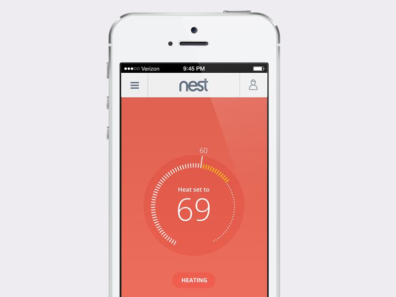 Nest iOS Design nest thermostat ios flatdesign minimal simple