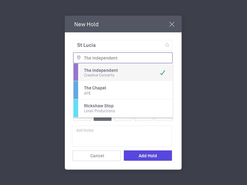 Adding a new hold dropdown booking calendar venues dialog modal