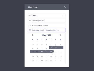 Multi-Day Holds holds calendar calendar multi-day