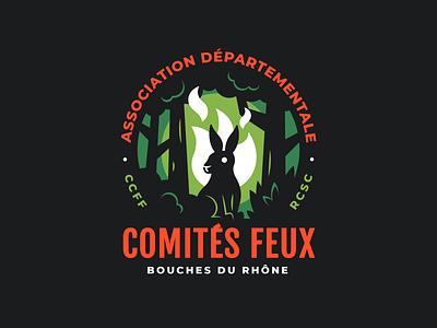 Comités Feux Bouches du Rhones vector graphic design illustration green orange bunny nature forest rabbit badge logo