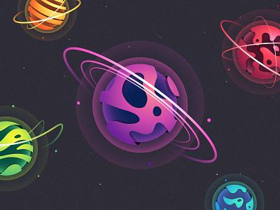 Planètes vectorielles stars saturn venus earth mars colorful gradient planetary vector illustration spacial space planets
