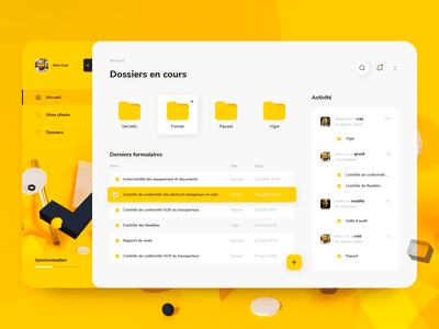 Audit Dashboard collaboration users folder files 3d yellow tablet app ui  ux