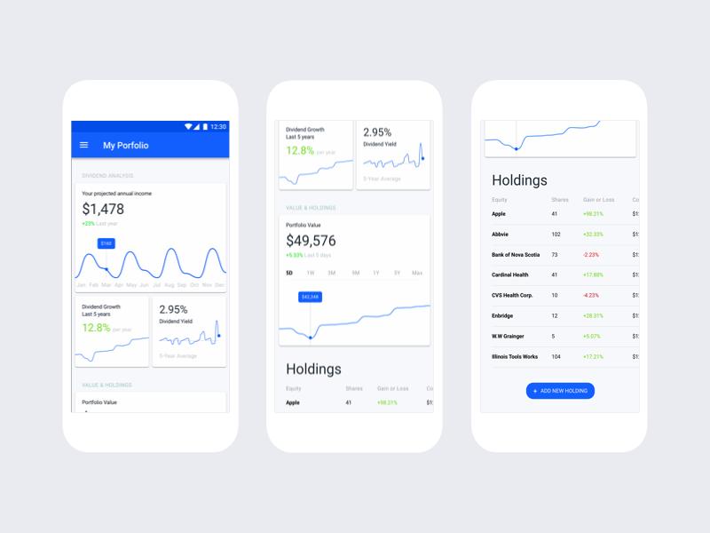 Dividend Tracker App retirement data analytics data graph app dashboard material design money app money fintech stock market stock portfolio investing