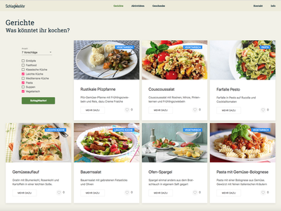 """Web-App """"SchlagWasVor"""" Dishes-Generator design schlagwasvor cyphersx ux ui"""
