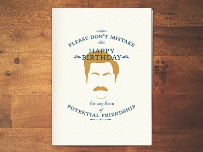Ron Swanson birthday card typography pattern parks and rec ron swanson birthday card