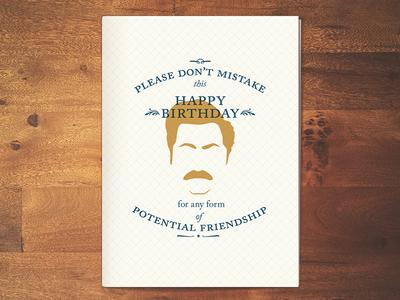 Ron Swanson birthday card by Dana McCreery Dribbble