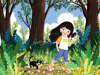 Take a walk with Batman green girl plant cat take a walk travel outdoor natural cute painting illustration