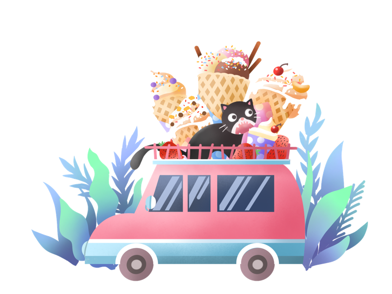 Summer plants car pink illustration painting ice cream cat summer