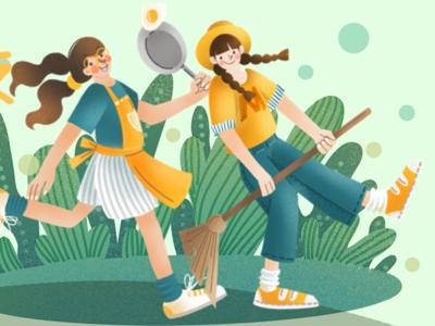 Girls flat green plants girls working painting illustration