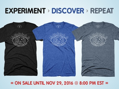 Experiment Discover Repeat cottonbureau apparel inspirational space triblend charlottenc cltdesign discover experiment science tshirt
