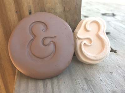 Amperstamp No2 tools lettering stoneware bisque handmade type typography ceramics pottery clay ampersand stamp