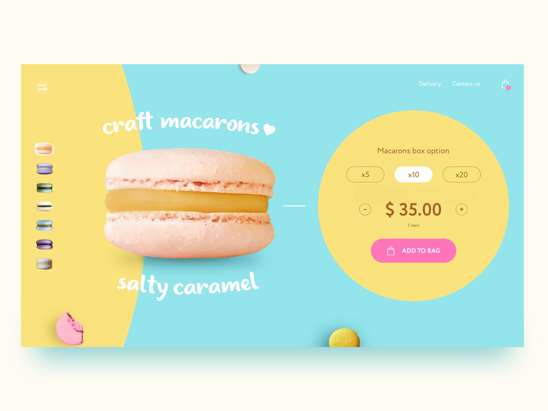 Craft Macarons Store Homepage Concept dessert clean bakery website webdesign web ux ui user page landing interface homepage design