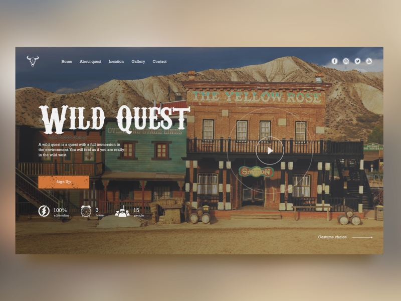 Wild Quest Homepage Concept clean ui wild west website webdesign web ux ui user page landing interface homepage design