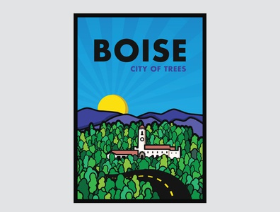 Poster Design - City of Trees vector minimal flat illustration illustrator design