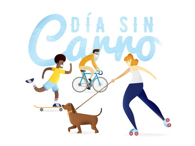 Dia Sin Carro sport skate bike roller dog people illustration no car day