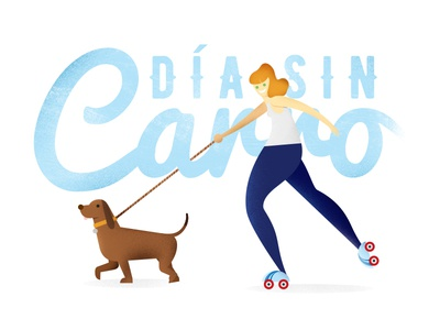 Dia Sin Carro Roller sport skate roller people no illustration dog day car bike