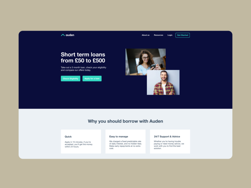 Re-imagination of Auden.co.uk fintech landingpage ui saas
