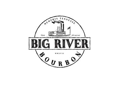 Big River drink bourbon label design illustration branding design