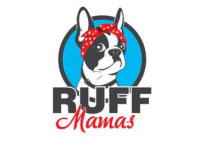 Ruff Mamas dog french bulldog vector illustration logo design
